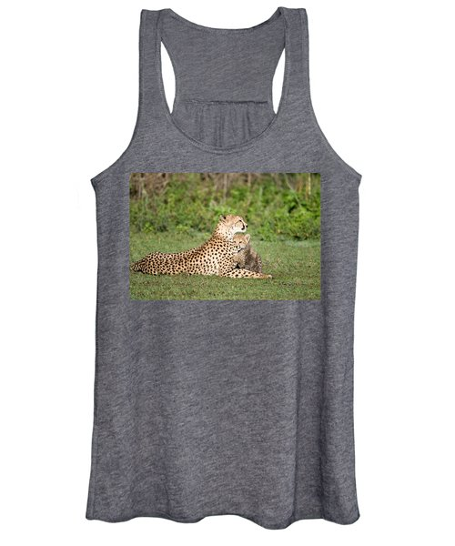 Cheetah Cub Acinonyx Jubatus Playing Women's Tank Top