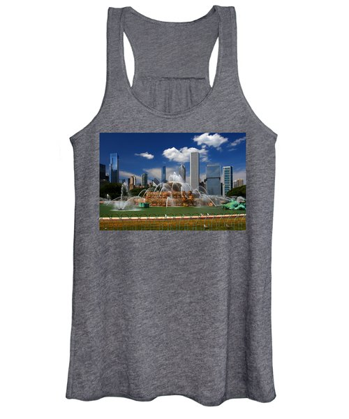 Chicago Skyline Grant Park Fountain Clouds Women's Tank Top