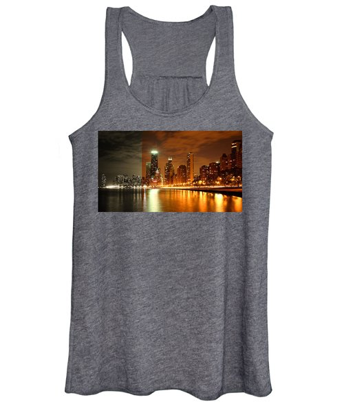 Chicago Skyline Night Amber Women's Tank Top