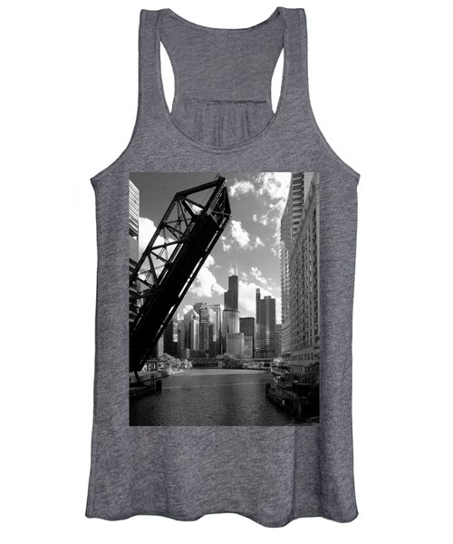 Chicago-skyline-raised Bridge Black White Women's Tank Top