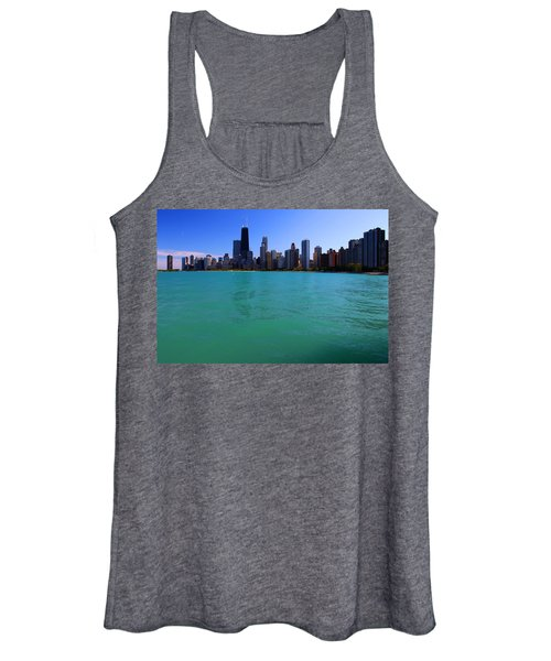 Chicago Skyline Teal Water Women's Tank Top