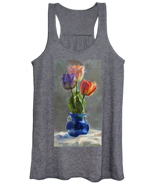 Cobalt And Tulips Still Life Painting Women's Tank Top