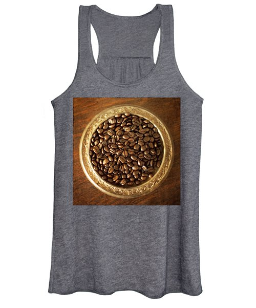 Coffee Beans On Antique Silver Platter Women's Tank Top