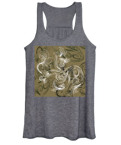 Coffee Flowers 2 Olive Women's Tank Top