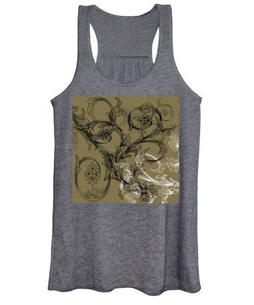 Coffee Flowers 3 Olive Women's Tank Top