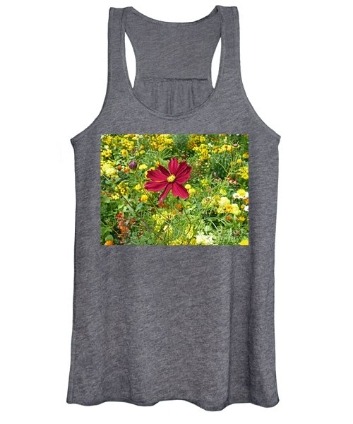 Colorful Flower Meadow With Great Red Blossom Women's Tank Top