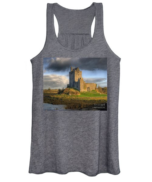 Dunguaire Castle With Dramatic Sky Kinvara Galway Ireland Women's Tank Top