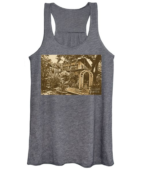 Ernest Hemingway House And Lush Gardens Key West Florida Rustic Digital Art Women's Tank Top