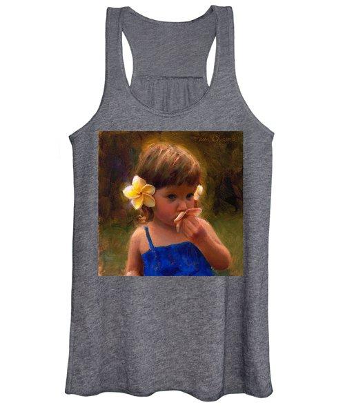 Flower Girl - Tropical Portrait With Plumeria Flowers Women's Tank Top
