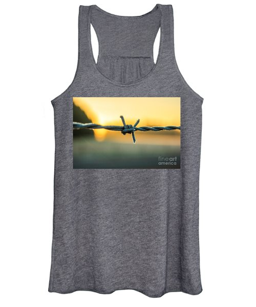 Frost On Barbed Wire At Sunrise Women's Tank Top