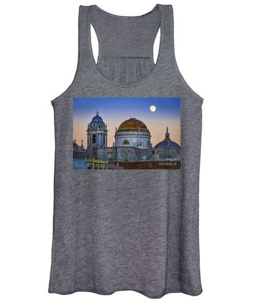 Full Moon Rising Over The Cathedral Cadiz Spain Women's Tank Top