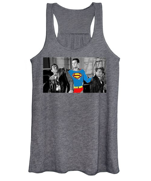 George Reeves As Superman In His 1950's Tv Show Apprehending Two Bad Guys 1953-2010 Women's Tank Top