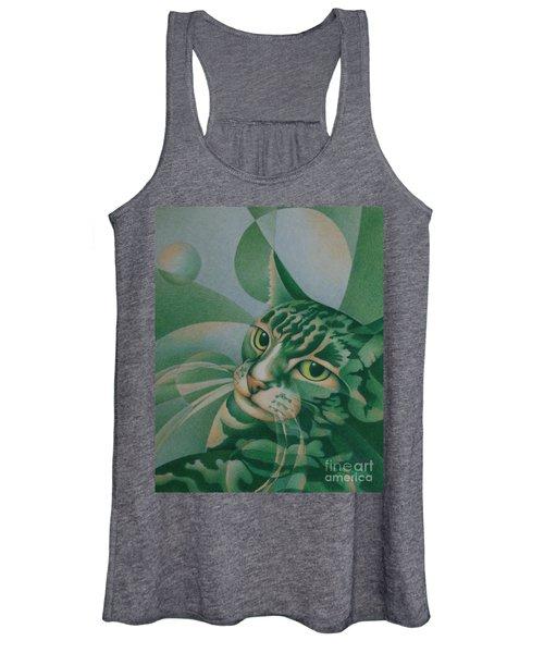 Green Feline Geometry Women's Tank Top