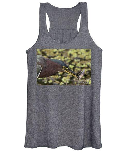 Green Heron Fishing Women's Tank Top