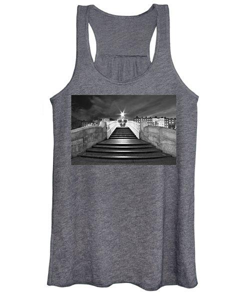 Ha'penny Bridge Steps At Night - Dublin - Black And White Women's Tank Top