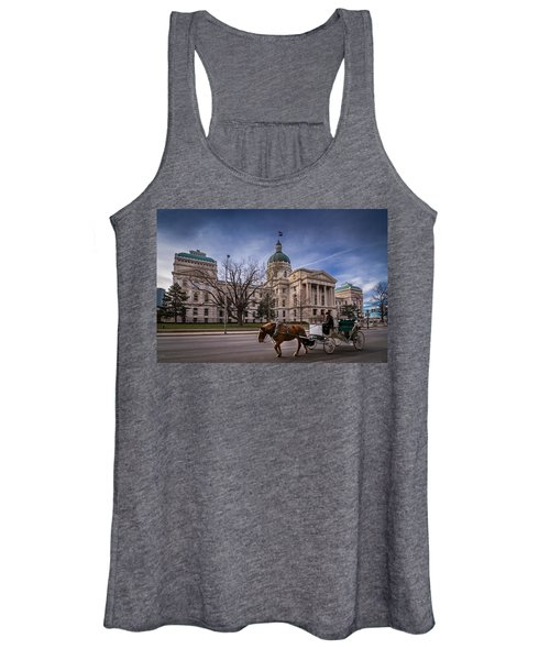 Indiana Capital Building - Front With Horse Passing Women's Tank Top