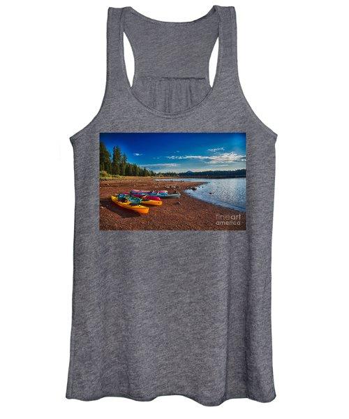 Kayaking On Howard Prairie Lake In Oregon Women's Tank Top