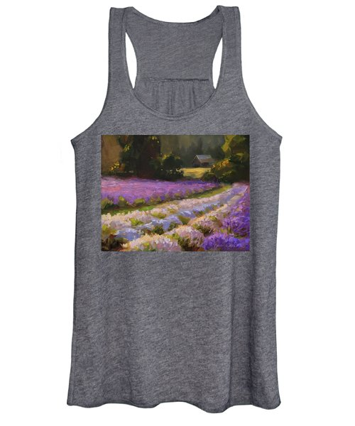 Lavender Farm Landscape Painting - Barn And Field At Sunset Impressionism  Women's Tank Top