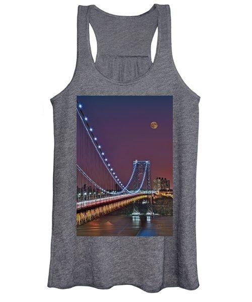 Moon Rise Over The George Washington Bridge Women's Tank Top