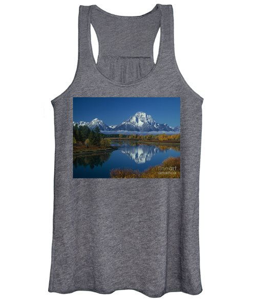 Morning Cloud Layer Oxbow Bend In Fall Grand Tetons National Park Wyoming Women's Tank Top