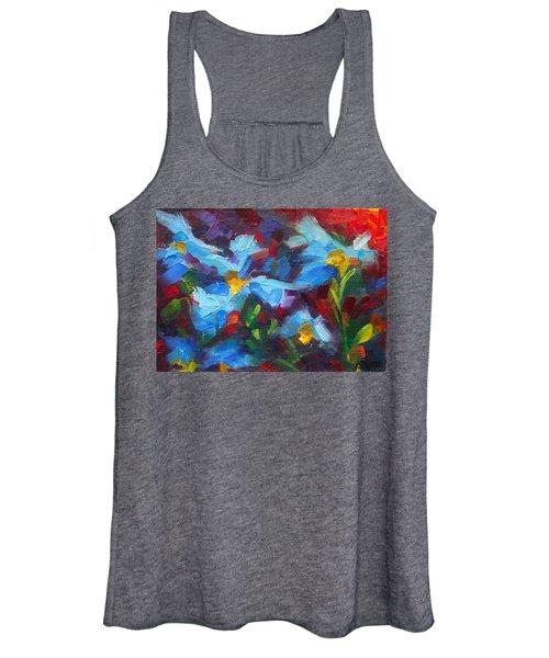Nature's Palette - Himalayan Blue Poppy Oil Painting Meconopsis Betonicifoliae Women's Tank Top