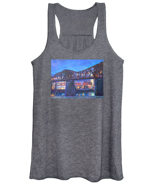 City At Night Downtown Evening Scene Original Contemporary Painting For Sale Women's Tank Top