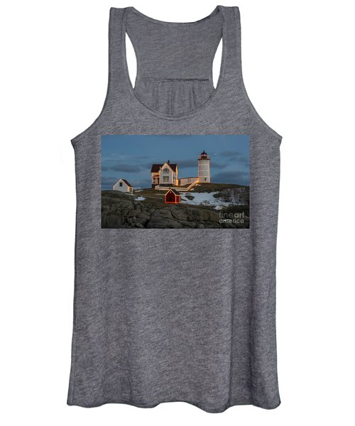 Nubble Lighthouse At Christmas Women's Tank Top