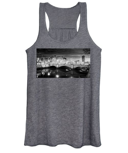 O Connell Bridge At Night - Dublin - Black And White Women's Tank Top