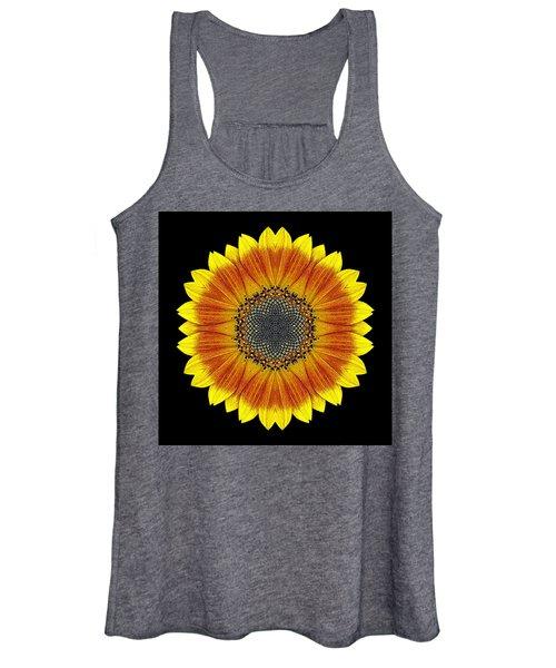 Orange And Yellow Sunflower Flower Mandala Women's Tank Top