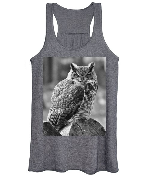 Owl In Black And White Women's Tank Top