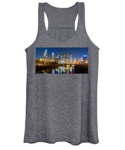 Philadelphia Cityscape Panorama By Night Women's Tank Top