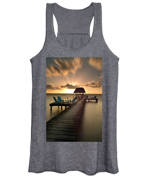 Pier With Palapa On Caribbean Sea Women's Tank Top