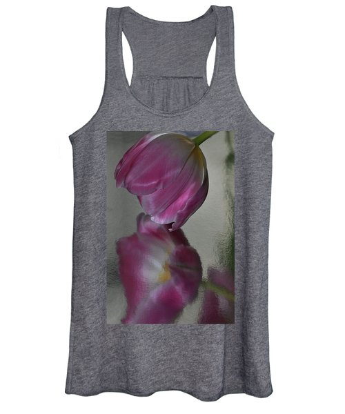 Pink Tulip Reflected In Silver Water Women's Tank Top