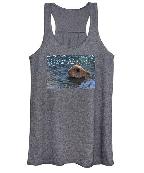 Playful Submerged Bear Women's Tank Top