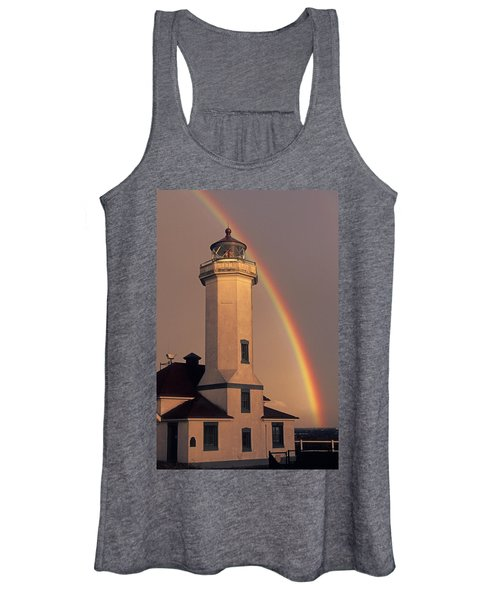 Port Townsend Lighthouse With Rainbow Women's Tank Top