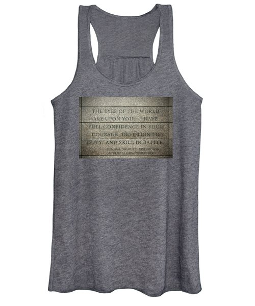 Quote Of Eisenhower In Normandy American Cemetery And Memorial Women's Tank Top