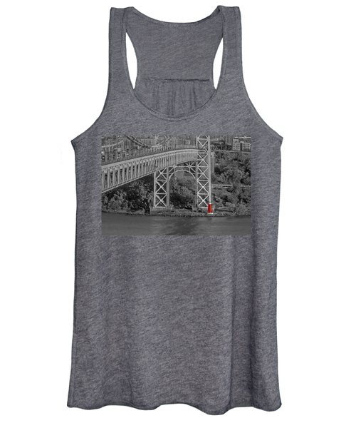 Red Lighthouse And Great Gray Bridge Bw Women's Tank Top