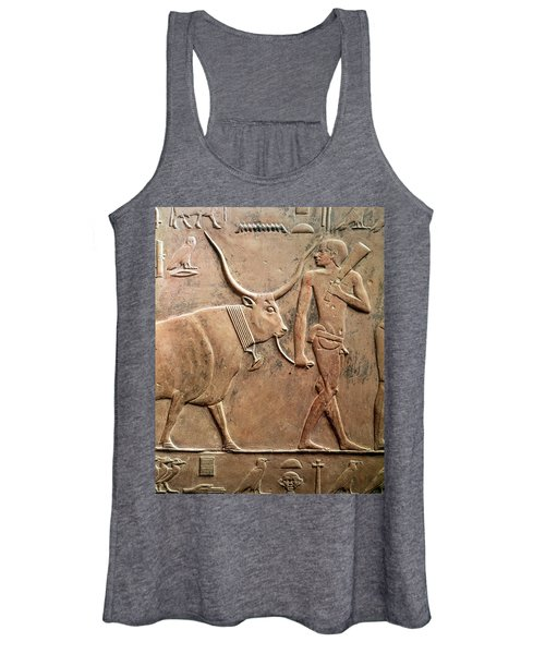 Relief Depicting A Peasant Leading A Cow To Sacrifice, From The Mastab Of Ptah-hotep Women's Tank Top