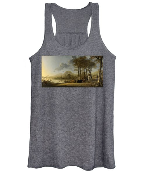 River Landscape With Horseman And Peasants Women's Tank Top