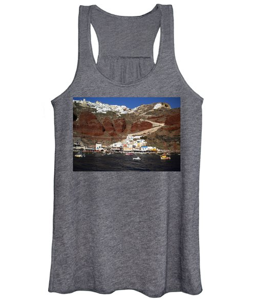 Santorini  Island  View To Oia Greece Women's Tank Top
