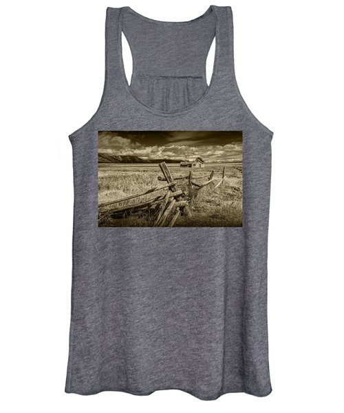 Sepia Colored Photo Of A Wood Fence By The John Moulton Farm Women's Tank Top