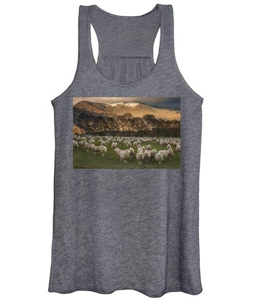Sheep Flock At Dawn Arrowtown Otago New Women's Tank Top
