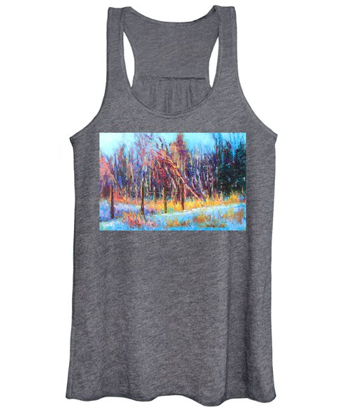 Signs Of Spring - Trees And Snow Kissed By Spring Light Women's Tank Top