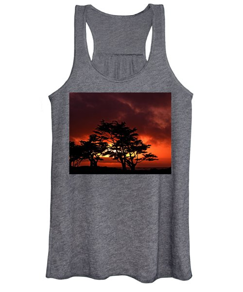 Silhouetted Cypresses Women's Tank Top