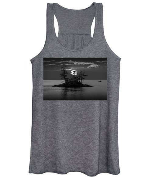 Small Island At Sunset In Black And White Women's Tank Top