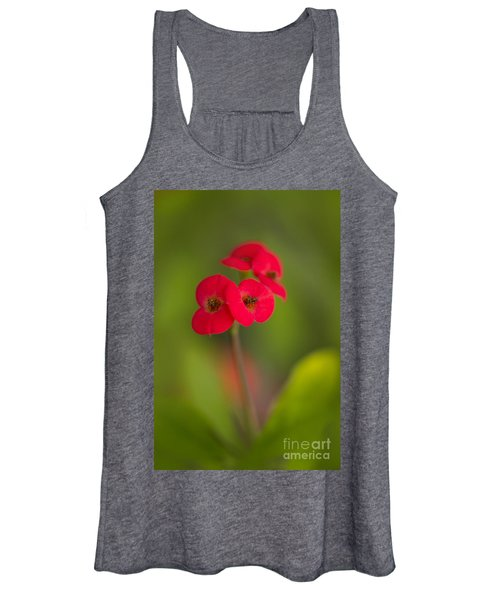 Small Red Flowers With Blurry Background Women's Tank Top