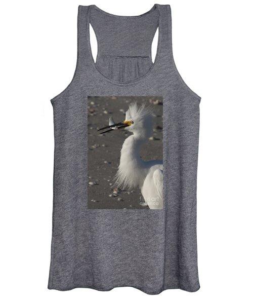 Snowy Egret Fishing Women's Tank Top