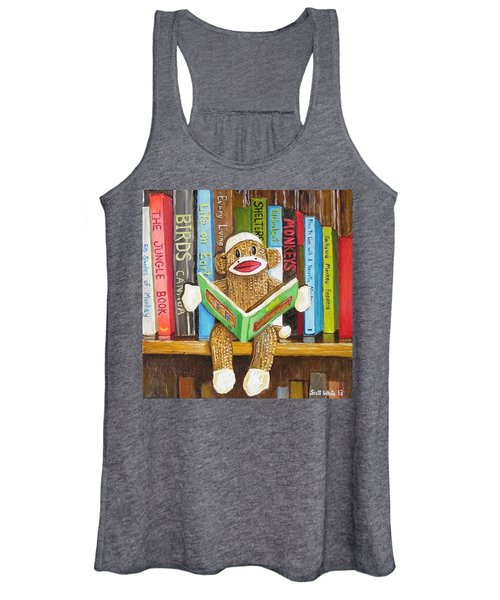 Sock Monkey Reading A Book Women's Tank Top