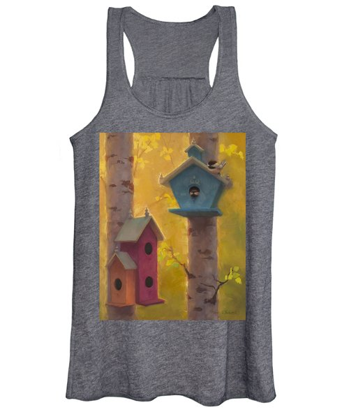 Spring Chickadees 2 - Birdhouse And Birch Forest Women's Tank Top