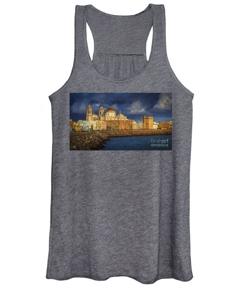 Stormy Skies Over The Cathedral Cadiz Spain Women's Tank Top